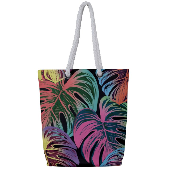 Leaves Tropical Jungle Pattern Full Print Rope Handle Tote (Small)