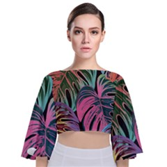 Leaves Tropical Jungle Pattern Tie Back Butterfly Sleeve Chiffon Top