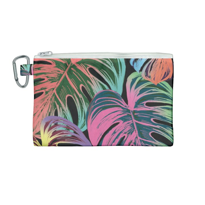 Leaves Tropical Jungle Pattern Canvas Cosmetic Bag (Medium)