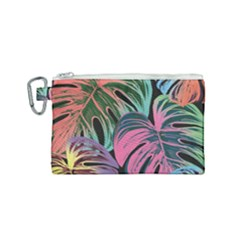 Leaves Tropical Jungle Pattern Canvas Cosmetic Bag (small)