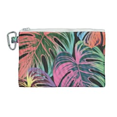 Leaves Tropical Jungle Pattern Canvas Cosmetic Bag (large)