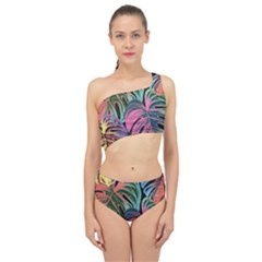 Leaves Tropical Jungle Pattern Spliced Up Two Piece Swimsuit