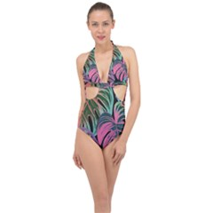 Leaves Tropical Jungle Pattern Halter Front Plunge Swimsuit