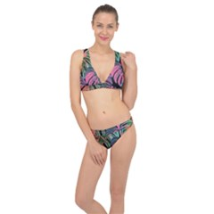 Leaves Tropical Jungle Pattern Classic Banded Bikini Set