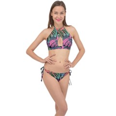 Leaves Tropical Jungle Pattern Cross Front Halter Bikini Set