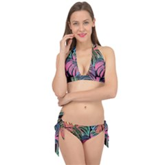 Leaves Tropical Jungle Pattern Tie It Up Bikini Set