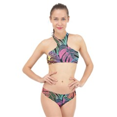 Leaves Tropical Jungle Pattern High Neck Bikini Set