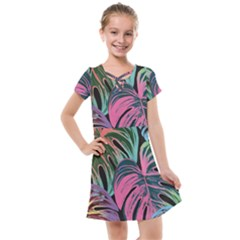 Leaves Tropical Jungle Pattern Kids  Cross Web Dress
