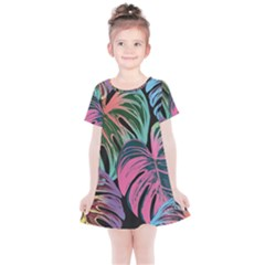 Leaves Tropical Jungle Pattern Kids  Simple Cotton Dress