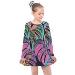 Leaves Tropical Jungle Pattern Kids  Long Sleeve Dress