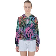 Leaves Tropical Jungle Pattern Women s Tie Up Sweat