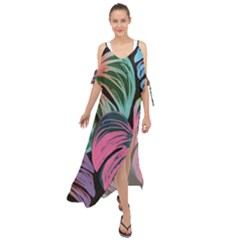 Leaves Tropical Jungle Pattern Maxi Chiffon Cover Up Dress