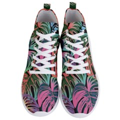 Leaves Tropical Jungle Pattern Men s Lightweight High Top Sneakers