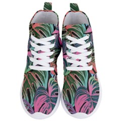 Leaves Tropical Jungle Pattern Women s Lightweight High Top Sneakers