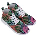 Leaves Tropical Jungle Pattern Women s Lightweight High Top Sneakers View3