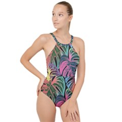 Leaves Tropical Jungle Pattern High Neck One Piece Swimsuit