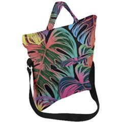 Leaves Tropical Jungle Pattern Fold Over Handle Tote Bag