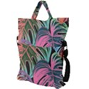 Leaves Tropical Jungle Pattern Fold Over Handle Tote Bag View2