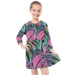 Leaves Tropical Jungle Pattern Kids  Quarter Sleeve Shirt Dress