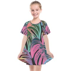 Leaves Tropical Jungle Pattern Kids  Smock Dress