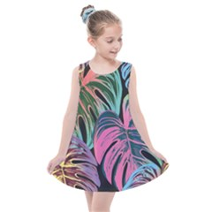 Leaves Tropical Jungle Pattern Kids  Summer Dress
