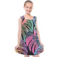Leaves Tropical Jungle Pattern Kids  Cross Back Dress