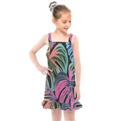 Leaves Tropical Jungle Pattern Kids  Overall Dress