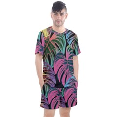 Leaves Tropical Jungle Pattern Men s Mesh Tee And Shorts Set