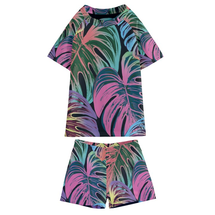 Leaves Tropical Jungle Pattern Kids  Swim Tee and Shorts Set