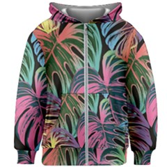 Leaves Tropical Jungle Pattern Kids Zipper Hoodie Without Drawstring