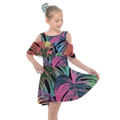 Leaves Tropical Jungle Pattern Kids  Shoulder Cutout Chiffon Dress
