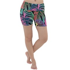 Leaves Tropical Jungle Pattern Lightweight Velour Yoga Shorts