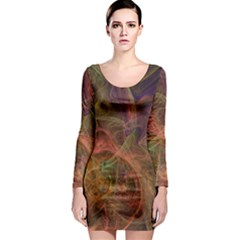 Abstract Colorful Art Design Long Sleeve Bodycon Dress by Nexatart