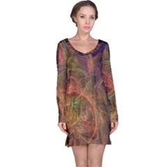 Abstract Colorful Art Design Long Sleeve Nightdress