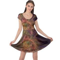 Abstract Colorful Art Design Cap Sleeve Dress
