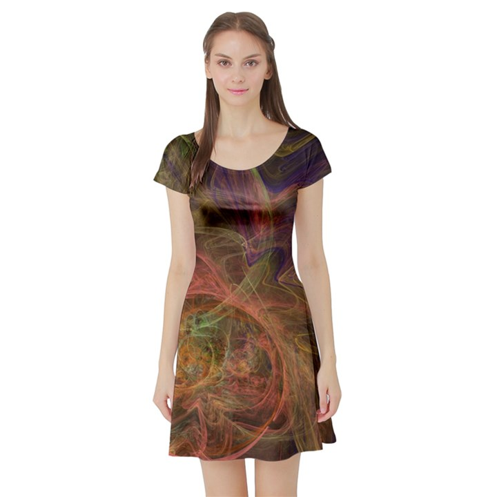 Abstract Colorful Art Design Short Sleeve Skater Dress