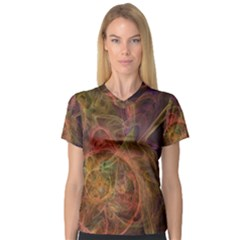 Abstract Colorful Art Design V Neck Sport Mesh Tee