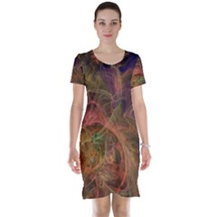 Abstract Colorful Art Design Short Sleeve Nightdress