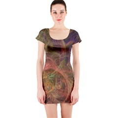 Abstract Colorful Art Design Short Sleeve Bodycon Dress