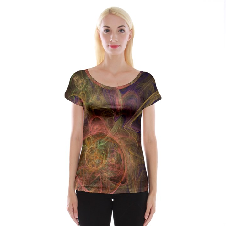 Abstract Colorful Art Design Cap Sleeve Top