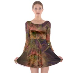 Abstract Colorful Art Design Long Sleeve Skater Dress