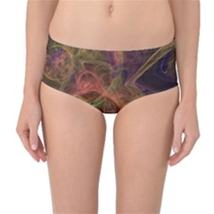 Abstract Colorful Art Design Mid Waist Bikini Bottoms