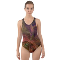 Abstract Colorful Art Design Cut Out Back One Piece Swimsuit