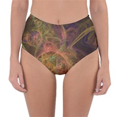Abstract Colorful Art Design Reversible High Waist Bikini Bottoms