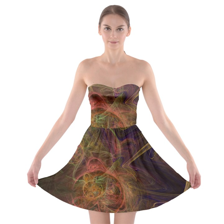 Abstract Colorful Art Design Strapless Bra Top Dress