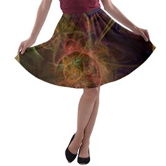 Abstract Colorful Art Design A Line Skater Skirt