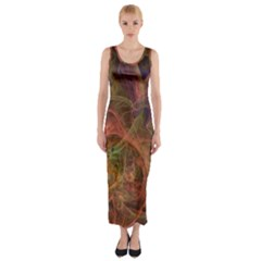 Abstract Colorful Art Design Fitted Maxi Dress