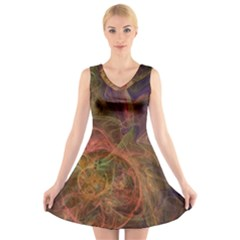Abstract Colorful Art Design V Neck Sleeveless Dress
