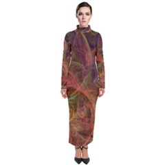 Abstract Colorful Art Design Turtleneck Maxi Dress