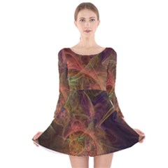 Abstract Colorful Art Design Long Sleeve Velvet Skater Dress